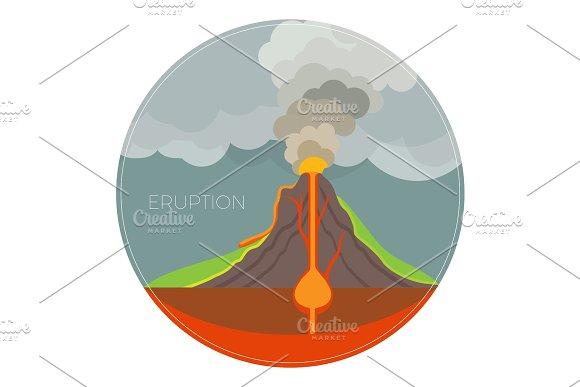 Dangerous Volcano Eruption Scheme With Lot Of Smoke