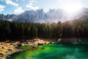 Carezza Lake in Dolomites, Italy