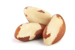 Brazil nuts isolated on white background closeup