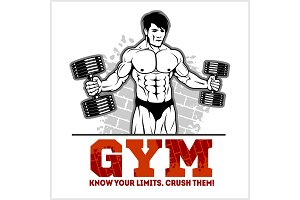 Bodybuilder with dumbbells - monochrome vector illustration