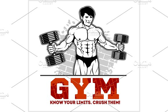 Bodybuilder With Dumbbells Monochrome Vector Illustration
