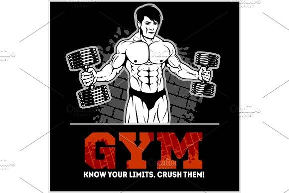 Bodybuilder With Dumbbells Monochrome Vector Illustration