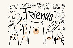 Five animals friends in vector