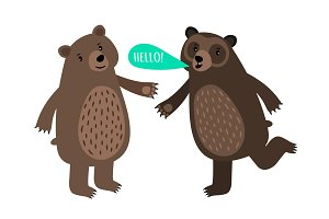 Two cartoon bears with speech bubble