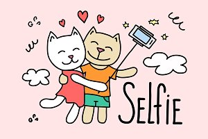 Couple of cartoon cats making selfie