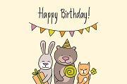 Happy birthday vector three friends