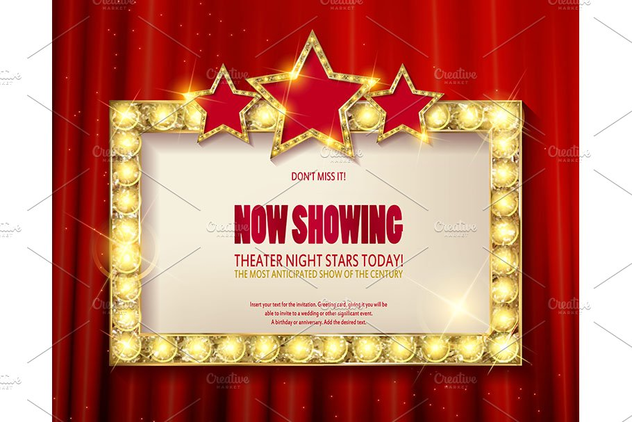 Theater sign or cinema sign set in Graphics - product preview 8