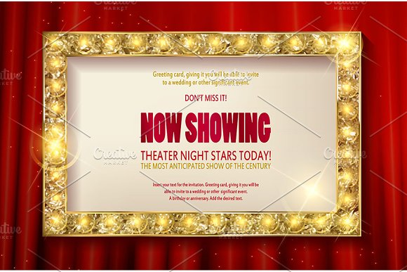 Theater sign or cinema sign set in Graphics - product preview 1