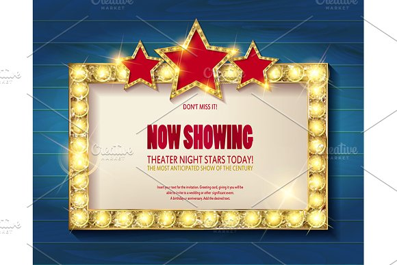 Theater sign or cinema sign set in Graphics - product preview 2