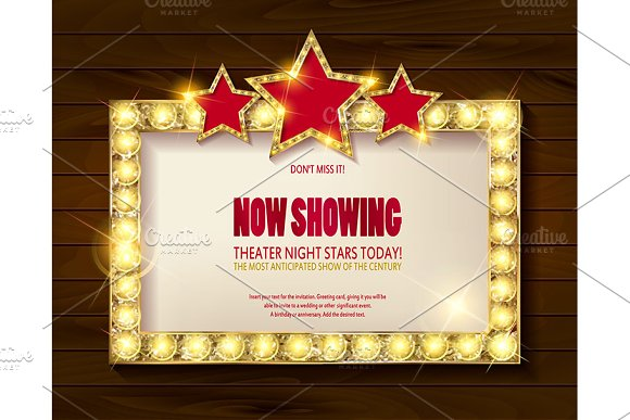 Theater sign or cinema sign set in Graphics - product preview 3