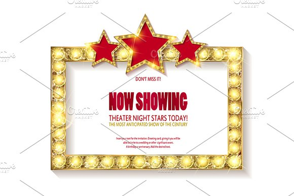 Theater sign or cinema sign set in Graphics - product preview 4
