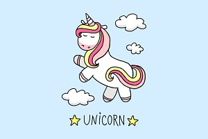 Fantasy cute unicorn in the sky