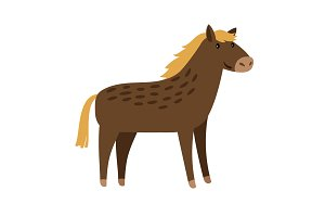 Horse cute cartoon icon