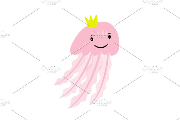 Pink Cartoon Jellyfish