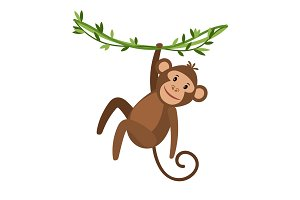 Funny cartoon monkey icon