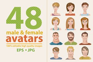 48 male&female avatars