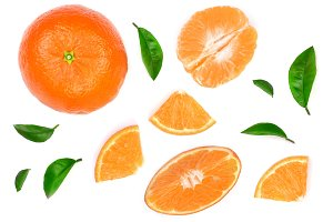orange or tangerine with leaves isolated on white background. Flat lay, top view. Fruit composition