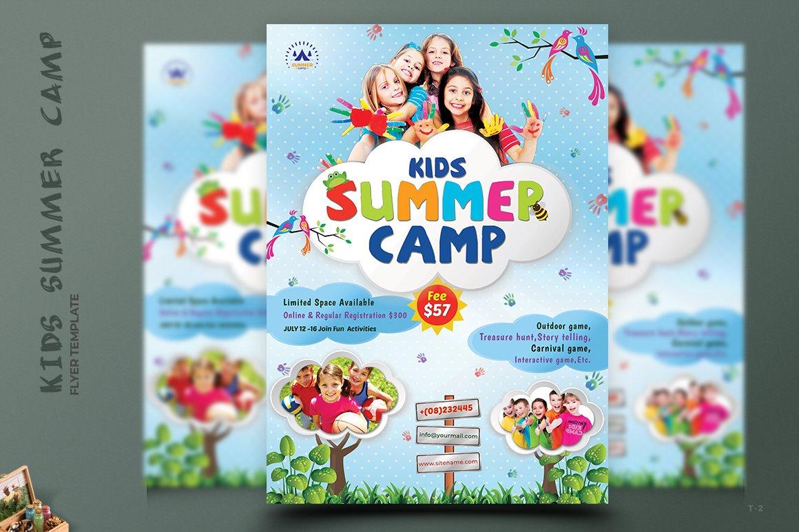 kids summer camp flyers flyer templates creative market