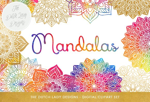 Mandala Clipart Set Rainbow Gold