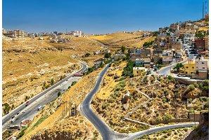 View of Al Karak city from the castle