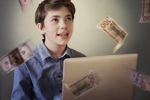 talented teenager with laptop freelance working earn money