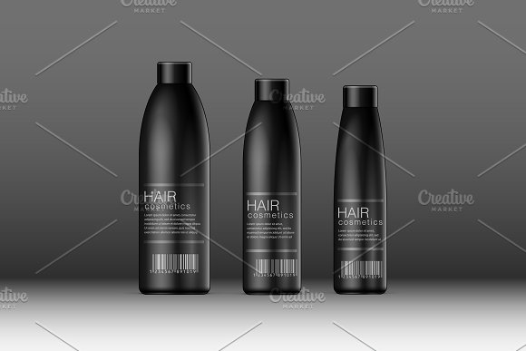 Realistic Black Cosmetics Bottle