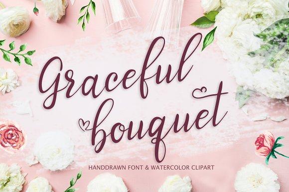 Graceful Bouquet-lovely Font Clipart