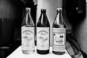 Bottles of old ussr vodka.