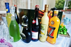 Diferrent bottles of alcoholic bever