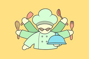 Icon of cute chef with mustaches