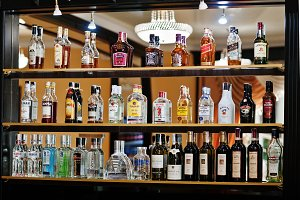 everal types of bottled alcohol