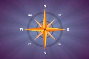 Wind rose, compass illustration.