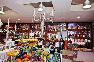 Different bottles on bar reception