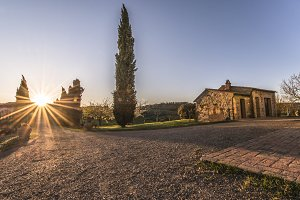 Sunset over Tuscany House & Road