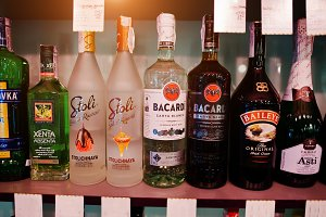 alcoholic beverages bottles in bar