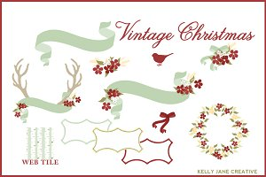 Vintage Christmas Clipart Vector