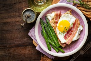 Breakfast with eggs and asparagus