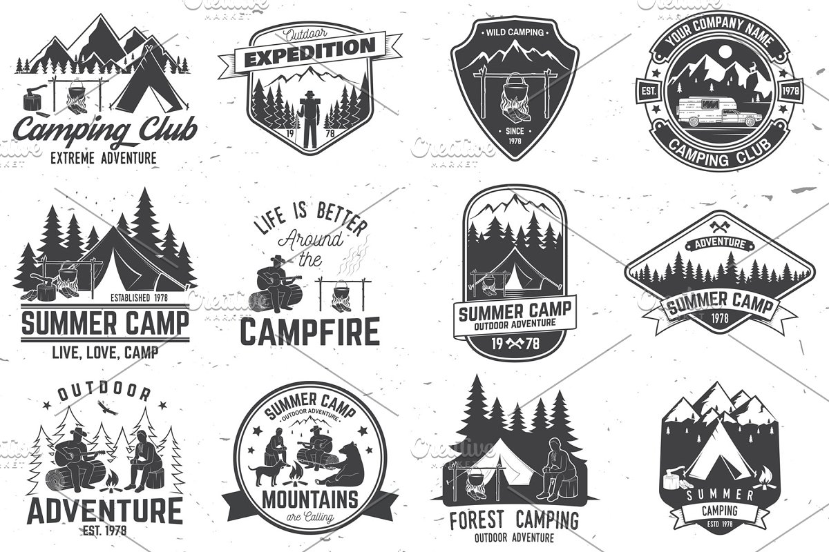 Summer Camp Badges in Illustrations - product preview 8