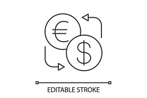 Euro and dollar currency exchange linear icon