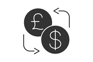 Dollar and British pound currency exchange glyph icon