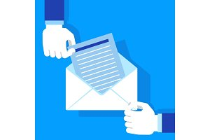 Hands holding envelope blue