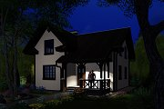 3D visualization. House at night.