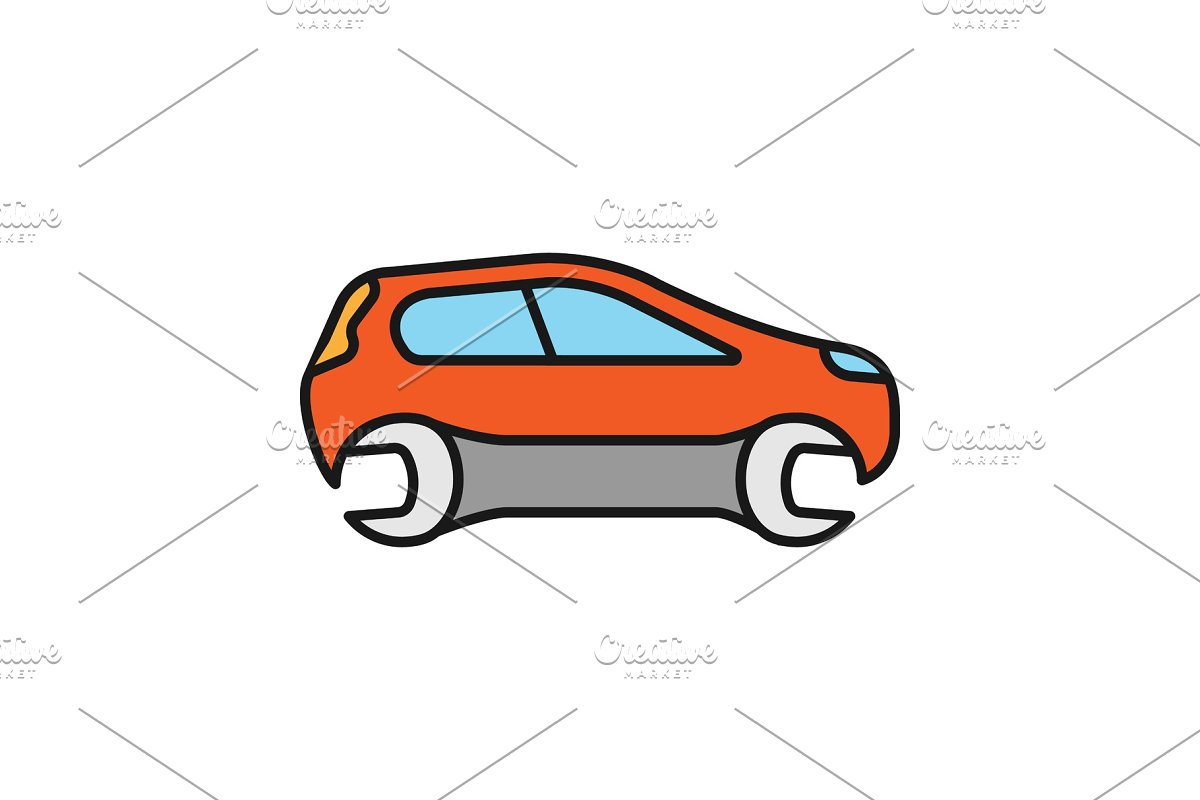 Car with spanner color icon in Icons - product preview 8