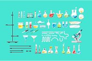 Chemical laboratory equipment isolated set