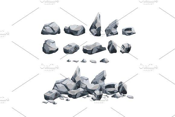 Stones Set In Cartoon Style