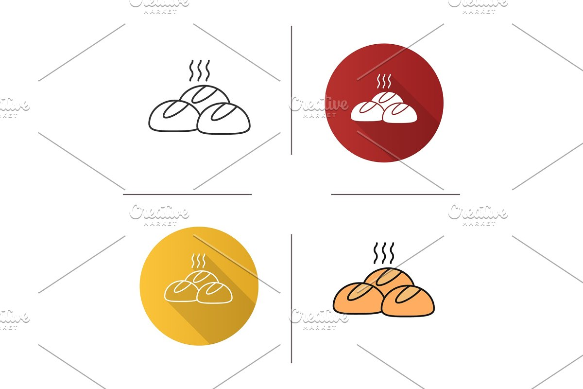 Dinner rolls icon in Graphics - product preview 8