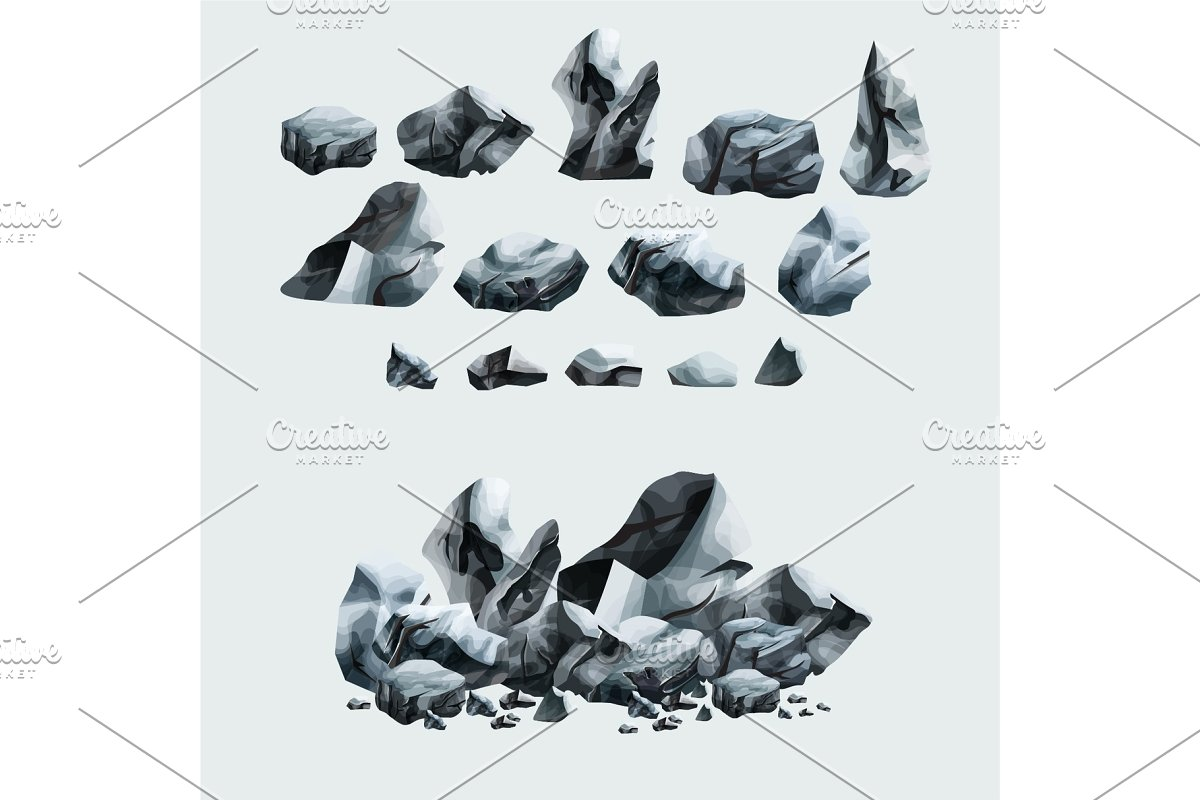 Heavy granite rocks set in cartoon style in Objects - product preview 8