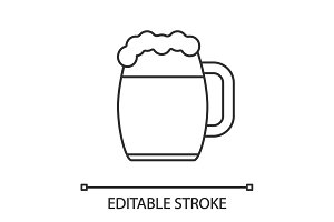 Beer mug linear icon