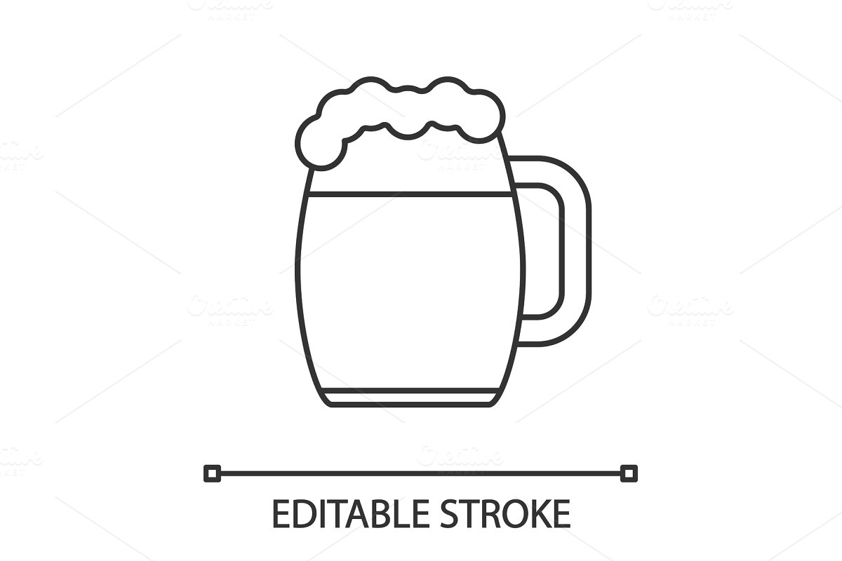 Beer mug linear icon in Graphics - product preview 8