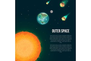 Outer space poster with earth